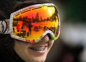 Lee Canyon Resort reflects off Sophia Adrangi, 13, googles on Monday, Dec. 21, 2015. The mountain currently has a base of 15 inches of snow. Jeff Scheid/ Las Vegas Review-Journal Follow @jlscheid