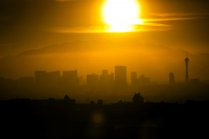 A view of sun begin to set behind Las Vegas Strip is seen from Shadow Rock Park on Friday, Dec. 18, 2015. Friday was the shortest day of the year. Jeff Scheid/ Las Vegas Review-Journal Follow @jlscheid