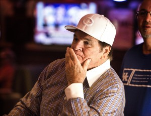 A dejected Major League Baseball all-time hits leader Pete Rose watches MLB Network inside Pete Rose Sports Bar and Grill, 3743 S Las Vegas Boulevard, after he conducted a press conference on Tuesday, Dec. 15, 2015. MLB commissioner Rob Manfred denied reinstatement to left Rose's ban to the Hall of Fame. Jeff Scheid/ Las Vegas Review-Journal Follow @jlscheid
