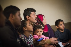Syrian refugee family Khalid, father, center, declined to give last name for security concerns, and is wife Safera, red scarf, with their children Adul Karim, 18, left, Retaj, 6, Zain Al Sham, 2, and Ali,6, sit for an interview on Tuesday, Nov. 17,2015. Not pictured is Mohamad, 11. The family arrived in Las Vegas in March. Jeff Scheid/ Las Vegas Review-Journal Follow @jlscheid
