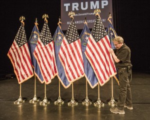 Satage Hand Guillauma Guy places flags before the rally for Republican presidential candidate Donald Trump at Treasure Island Hotel, 3300 S Las Vegas Boulevard, on Thursday, Oct. 8,2015. Jeff Scheid/ Las Vegas Review-Journal Follow @jlscheid