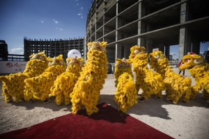 Members of the Resorts World Lion Dancers perform during the groundbreaking of the $4 billion Resorts World Las Vegas resort property, the site of the former Stardust hotel-casino on Tuesday, May 5, 2015. Jeff Scheid/Las Vegas Review-Journal) Follow Jeff Scheid on Twitter @jlscheid
