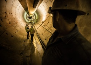 Construction worker Francisco Rodriquera stands in the third intake tunnel 600 feet below the surface on Monday, June 1, 2015. Southern Nevada Water Authority expects the tunnel under Lake Mead to be flooded with water in the coming months and be placed into service in September. Follow Jeff Scheid on Twitter @jlscheid(Jeff Scheid/Las Vegas Review-Journal) Follow Jeff Scheid on Twitter @jlscheid