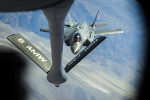 A F-35 Lightning II from the 31st Test and Evaluation Squadron during a refueling exercise over Fort Irwin,Cal. on Wednesday, June 10,2015. This was the first public refueling of the air force's newest airplane. Follow Jeff Scheid on Twitter @jlscheid (Jeff Scheid/Las Vegas Review-Journal)