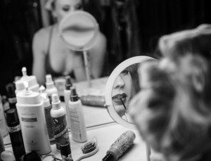 Crazy Girls dancer Michelle Davis puts on make up before the show at the Riviera hotel-casino on Friday May 1, 2015. After 28 years the show is closing and moving to Planet Hollywood. (Jeff Scheid/Las Vegas Review-Journal) Follow Jeff Scheid on Twitter @jlscheid