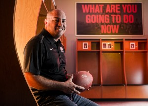 UNLV Men's Football Coach Tony Sanchez sits for a photo in the locker room at the Lied Athletic Complex on the campus of UNLV, 4505 South Maryland Parkway, on Thursday, March 5, 2015. The former Bishop Gorman High School coach took over the coaching reigns after former coach Bob Hauck resign last season.(Jeff Scheid/Las Vegas Review-Journal)