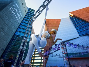 Aerialist Svetlana Ghetman performs Monday, January 19, 2015 during Winter 2015 Las Vegas Market. An estimate 50,000 people are attending the 5 million square foot show, which features furniture, home decor and gifts. (Jeff Scheid/Las Vegas Review-Journal)