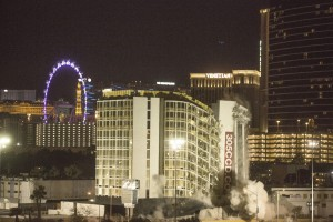 The Clarion, 205 Convention Center Drive, is imploded early Tuesday, Feb.10, 2015. The hotel is formerly known as the Royal Americana, Paddlewheel, Debbie Reynolds Hollywood Hotel and Greek Isles. (Jeff Scheid/Las Vegas Review-Journal)